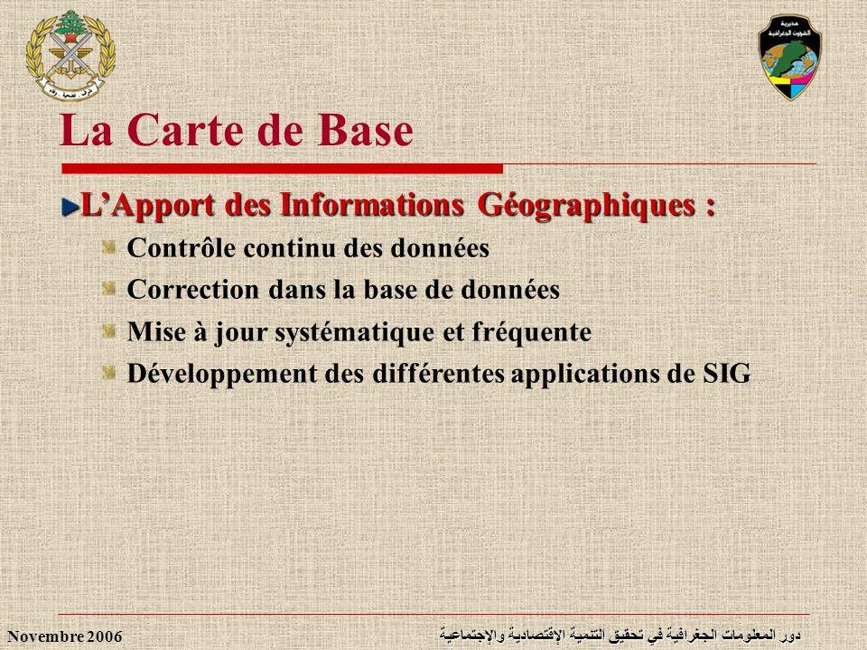 دور المعلومات الجغرافية في تحقيق التنمية الإقتصادية والإجتماعية Novembre 2006 LApport des Informations Géographiques : Contrôle continu des données Co