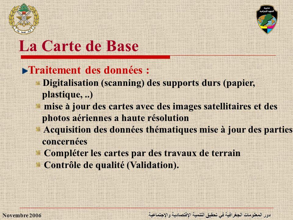 دور المعلومات الجغرافية في تحقيق التنمية الإقتصادية والإجتماعية Novembre 2006 Traitement des données : Digitalisation (scanning) des supports durs (pa
