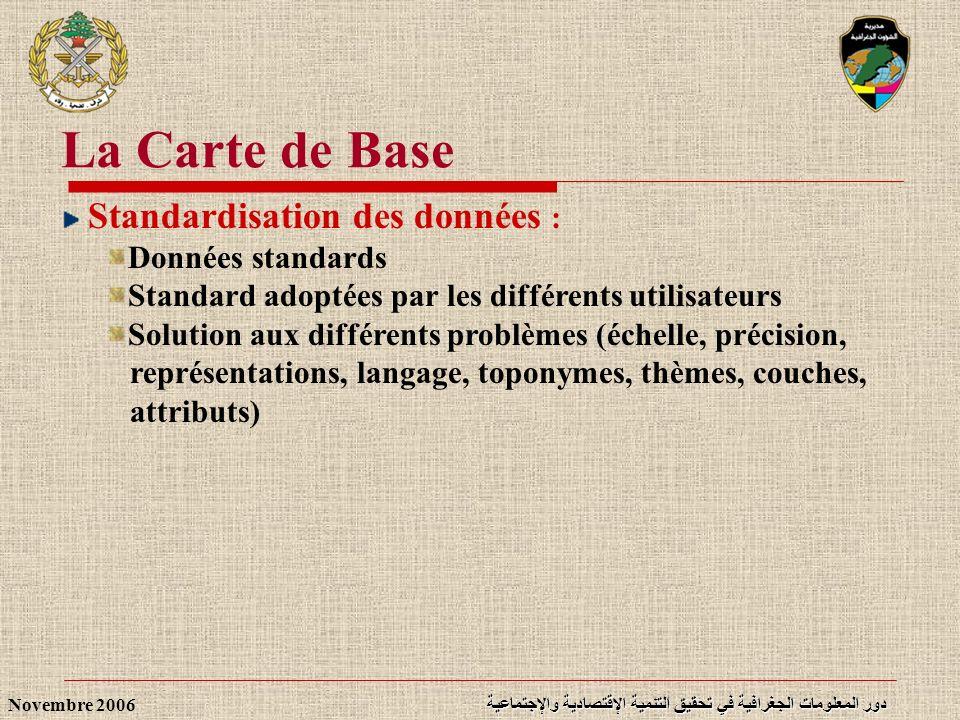 دور المعلومات الجغرافية في تحقيق التنمية الإقتصادية والإجتماعية Novembre 2006 Standardisation des données : Données standards Standard adoptées par le