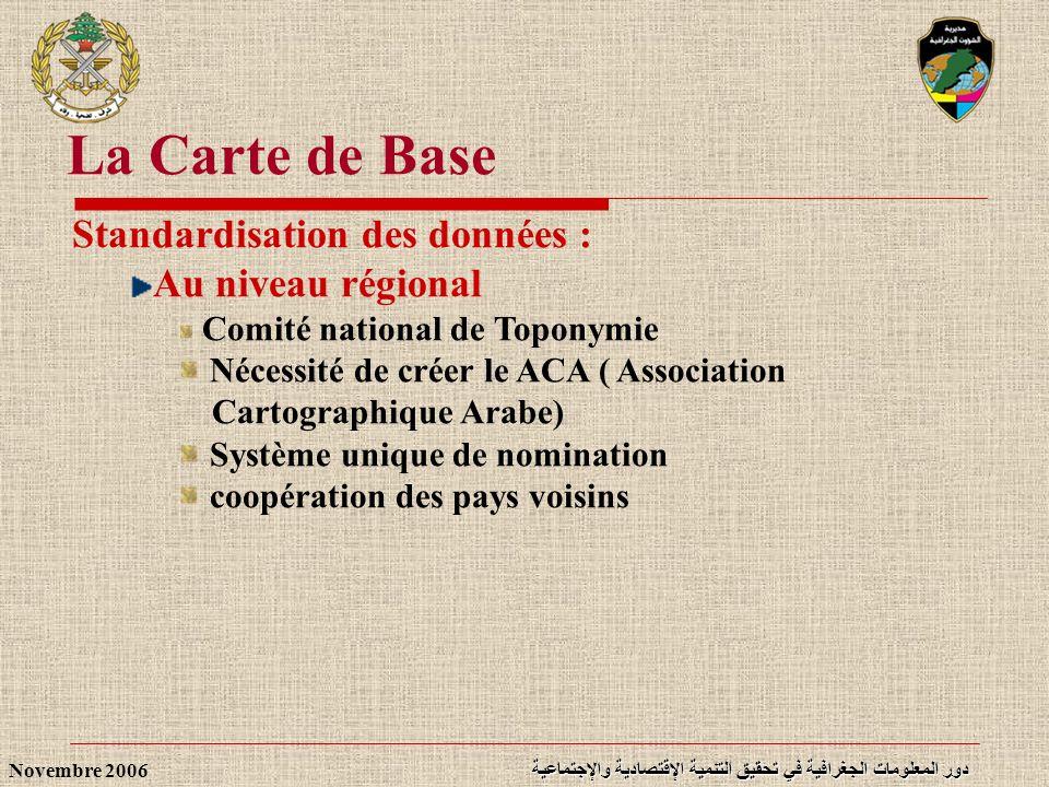 دور المعلومات الجغرافية في تحقيق التنمية الإقتصادية والإجتماعية Novembre 2006 Standardisation des données : Au niveau régional Comité national de Topo