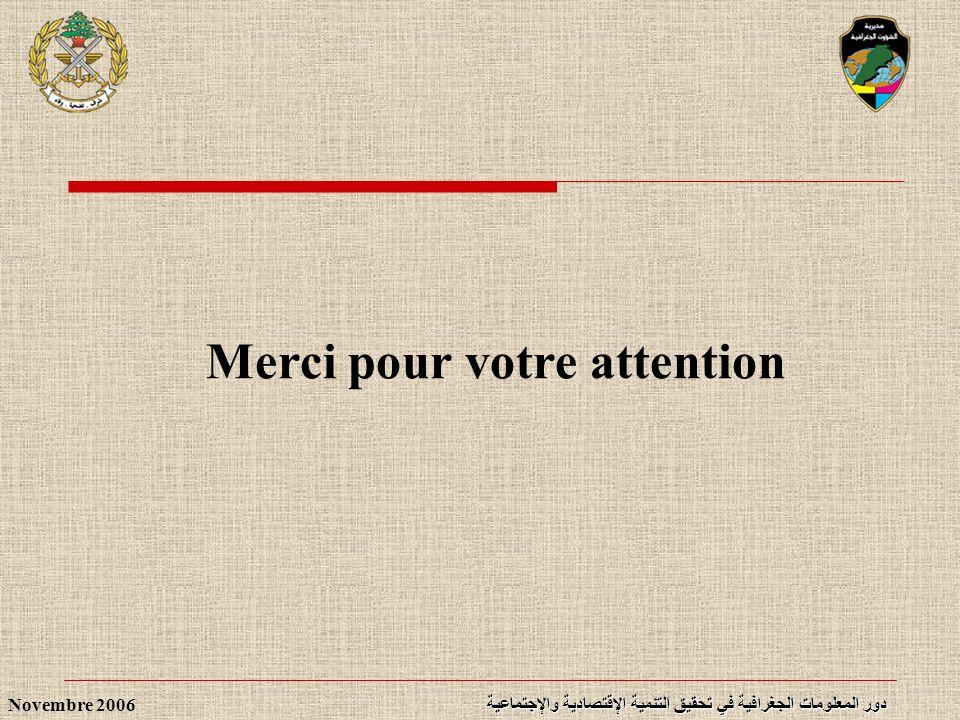 دور المعلومات الجغرافية في تحقيق التنمية الإقتصادية والإجتماعية Novembre 2006 Merci pour votre attention