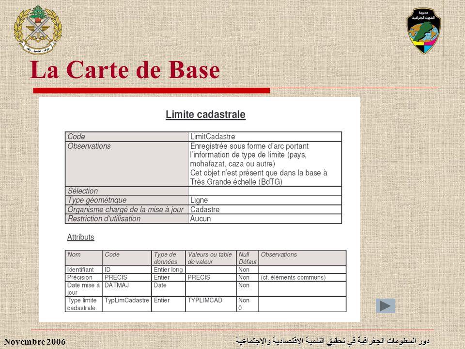 دور المعلومات الجغرافية في تحقيق التنمية الإقتصادية والإجتماعية Novembre 2006 La Carte de Base