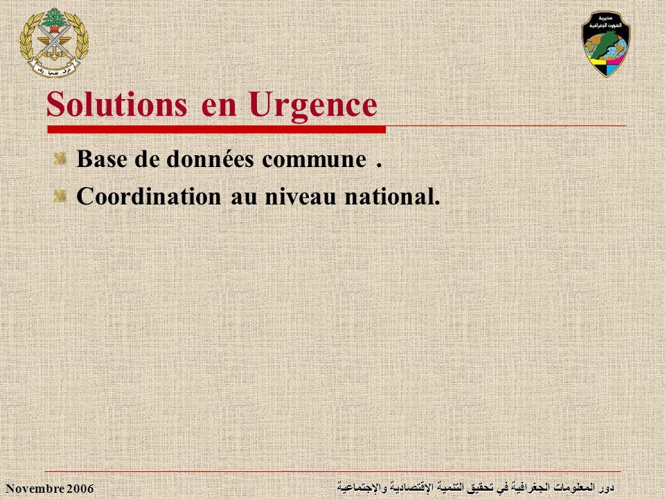 دور المعلومات الجغرافية في تحقيق التنمية الإقتصادية والإجتماعية Novembre 2006 Solutions en Urgence Base de données commune. Coordination au niveau nat