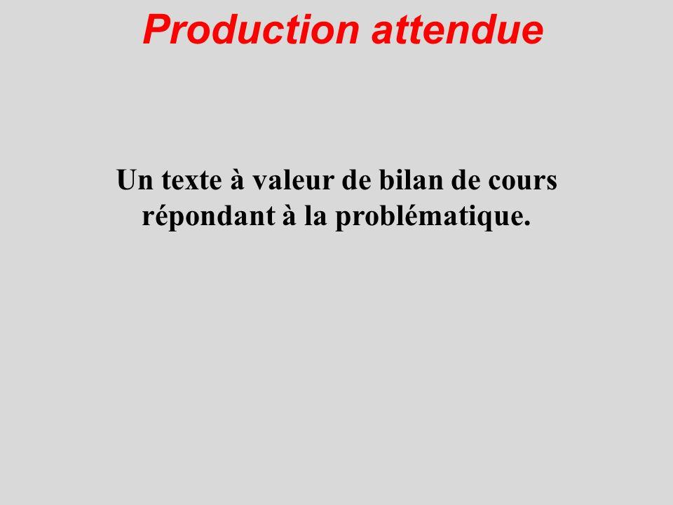 Production attendue Un texte à valeur de bilan de cours répondant à la problématique.