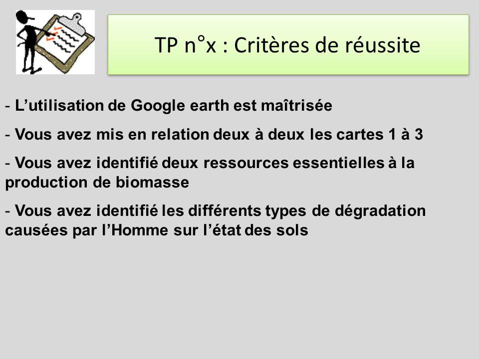 TP n°x : Critères de réussite - Lutilisation de Google earth est maîtrisée - Vous avez mis en relation deux à deux les cartes 1 à 3 - Vous avez identi