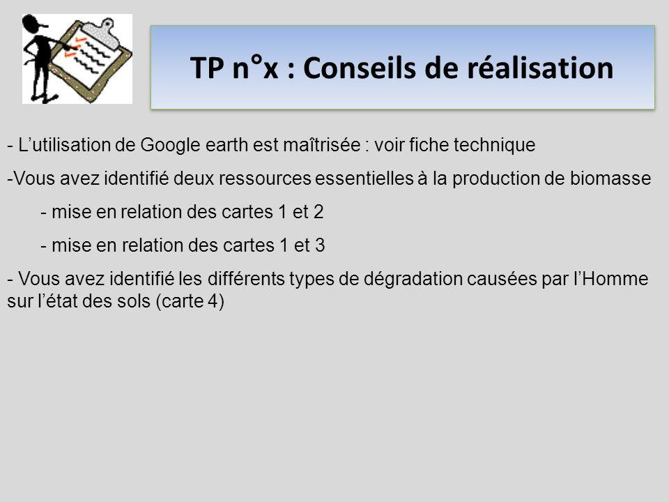 TP n°x : Conseils de réalisation - Lutilisation de Google earth est maîtrisée : voir fiche technique -Vous avez identifié deux ressources essentielles