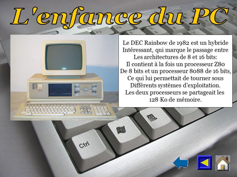 Le DEC Rainbow de 1982 est un hybride Intéressant, qui marque le passage entre Les architectures de 8 et 16 bits: Il contient à la fois un processeur Z80 De 8 bits et un processeur 8088 de 16 bits, Ce qui lui permettait de tourner sous Différents systèmes dexploitation.