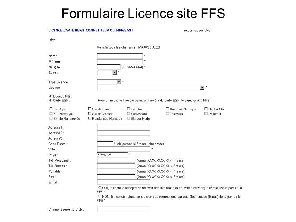Formulaire Licence site FFS