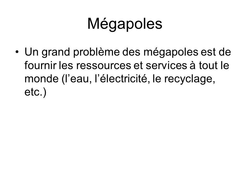 Mégapoles Un grand problème des mégapoles est de fournir les ressources et services à tout le monde (leau, lélectricité, le recyclage, etc.)