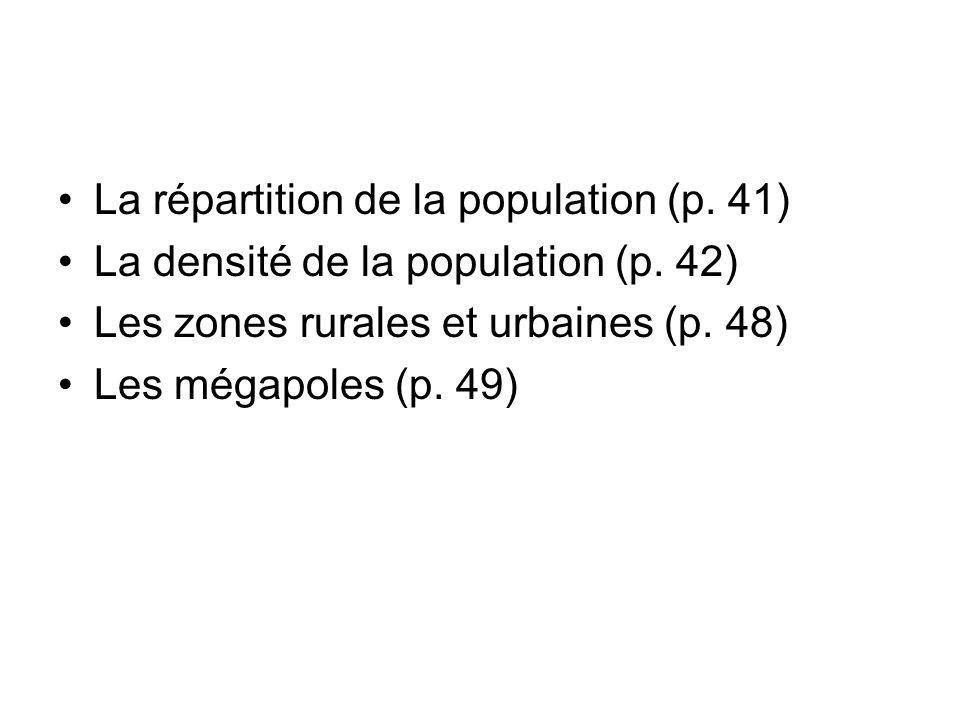 La répartition de la population (p. 41) La densité de la population (p. 42) Les zones rurales et urbaines (p. 48) Les mégapoles (p. 49)