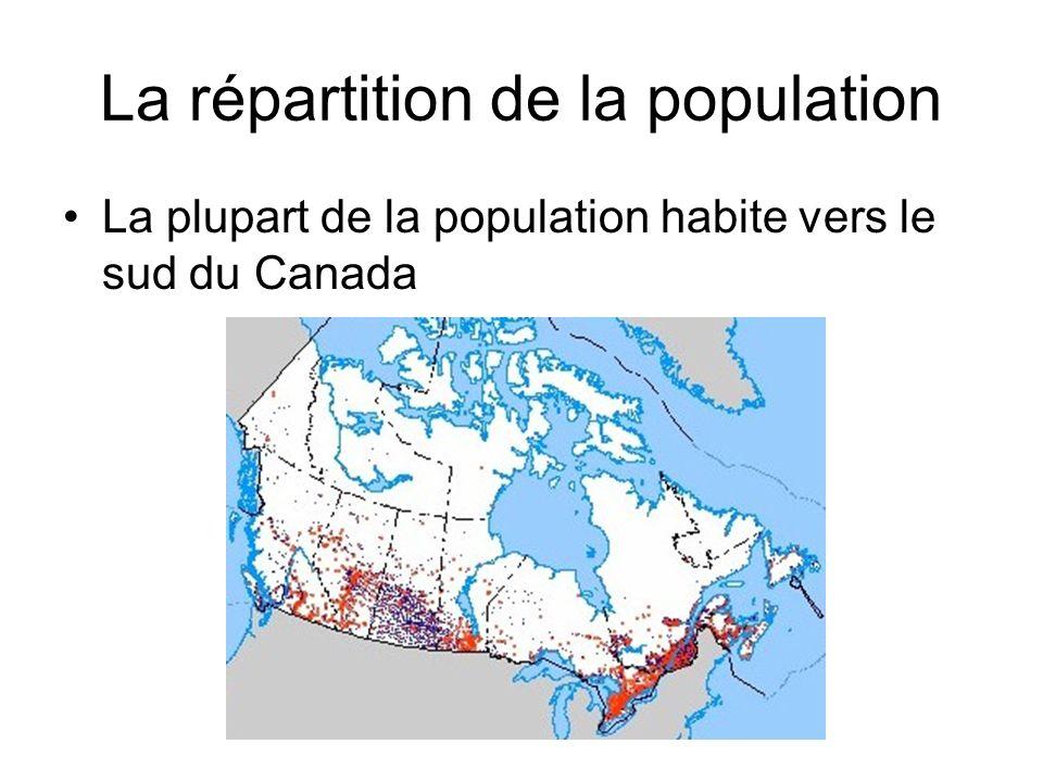 La répartition de la population La plupart de la population habite vers le sud du Canada