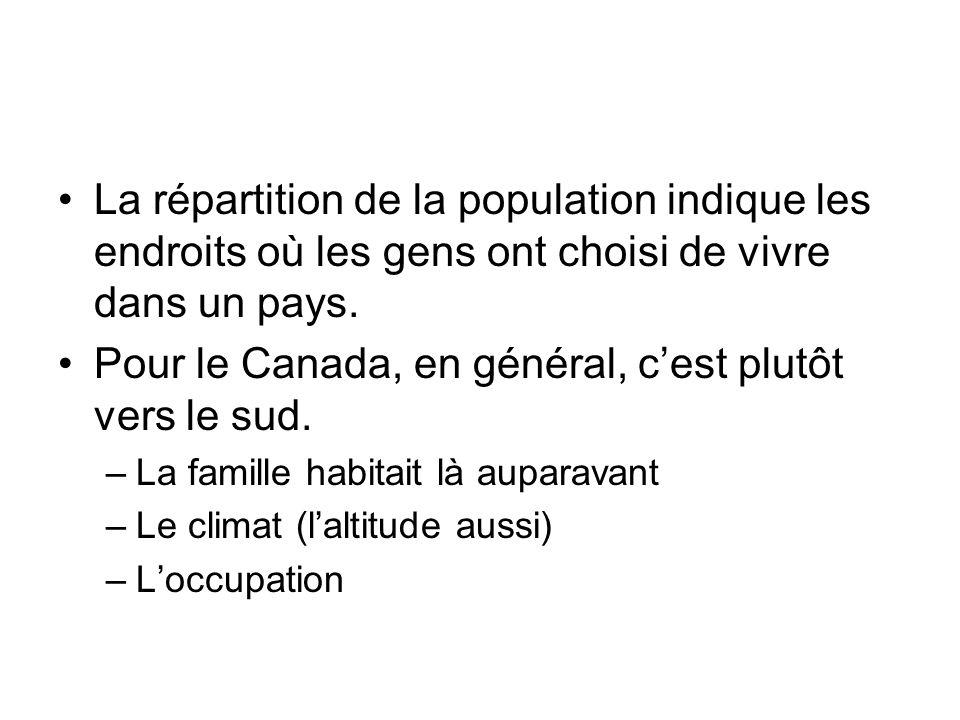 La répartition de la population indique les endroits où les gens ont choisi de vivre dans un pays. Pour le Canada, en général, cest plutôt vers le sud