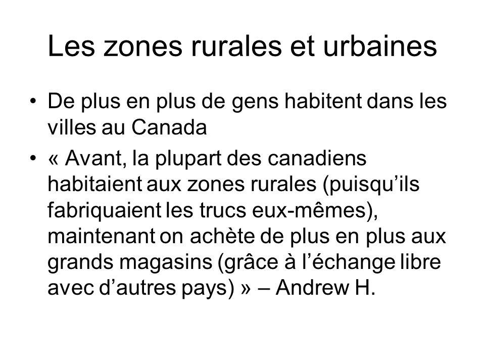 Les zones rurales et urbaines De plus en plus de gens habitent dans les villes au Canada « Avant, la plupart des canadiens habitaient aux zones rurale