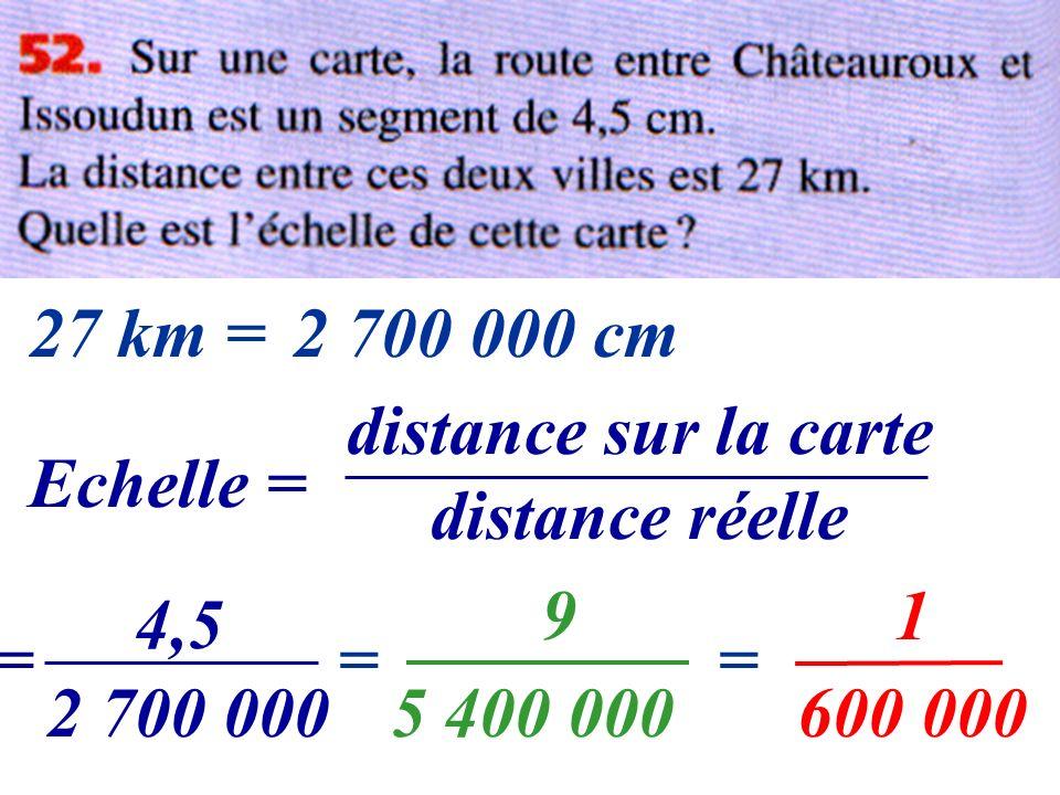 Echelle = distance sur la carte distance réelle = 4,5 2 700 000 27 km = = 9 5 400 000 = 1 600 000 2 700 000 cm