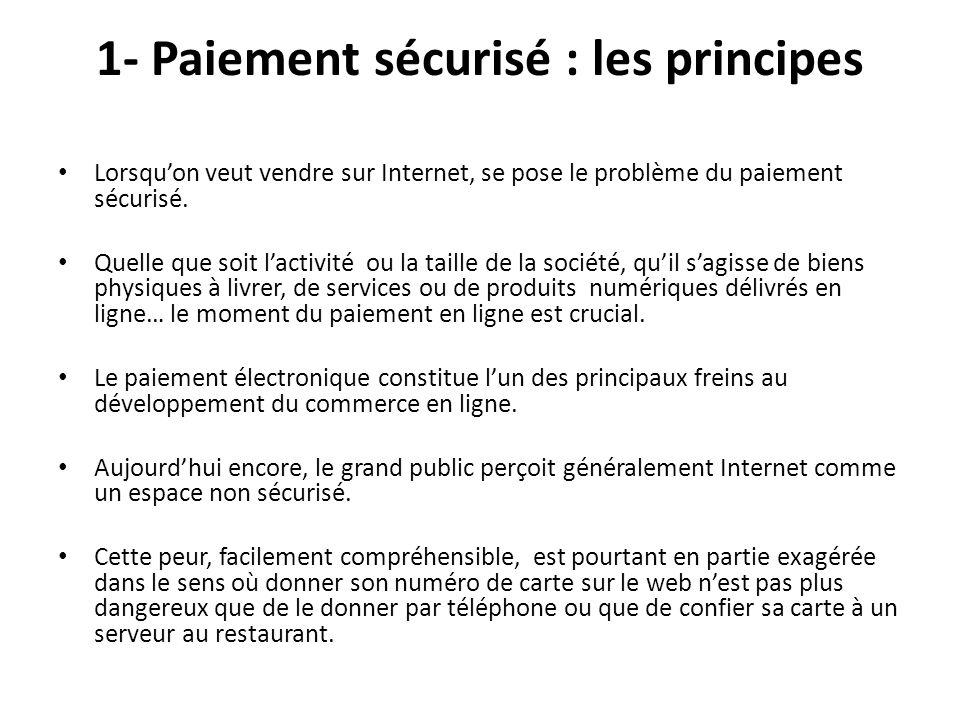 2 - Les protocoles et les nouveaux modes de paiement 2 – 1 Les protocoles de sécurité sur Internet SSL : Lélément fondamental de la sécurité des transactions sur Internet passe évidemment par le cryptage des échanges et lauthentification des partenaires.