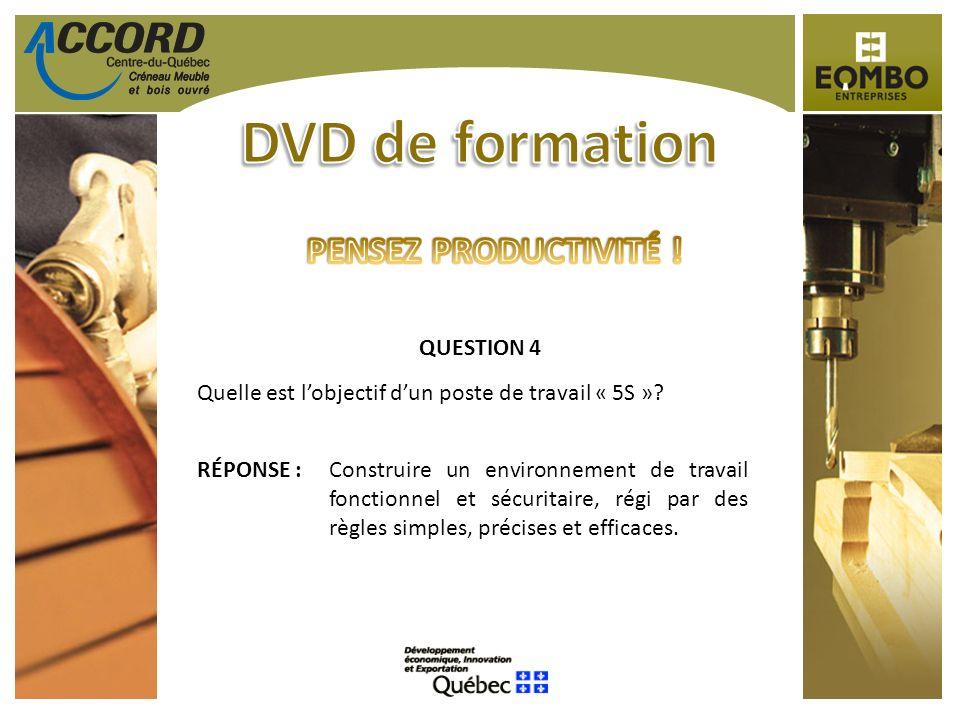 QUESTION 4 Quelle est lobjectif dun poste de travail « 5S »? RÉPONSE :Construire un environnement de travail fonctionnel et sécuritaire, régi par des