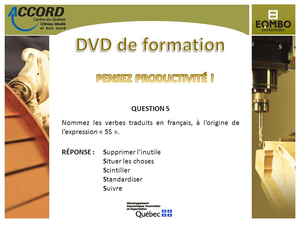 QUESTION 5 Nommez les verbes traduits en français, à lorigine de lexpression « 5S ». RÉPONSE :Supprimer linutile Situer les choses Scintiller Standard