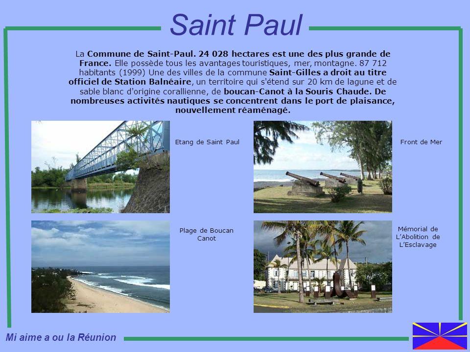 La Commune de Saint-Paul. 24 028 hectares est une des plus grande de France. Elle possède tous les avantages touristiques, mer, montagne. 87 712 habit