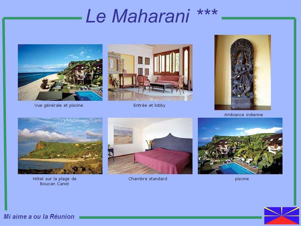 Vue générale et piscine Hôtel sur la plage de Boucan Canot Chambre standard Entrée et lobby Le Maharani *** Ambiance indienne piscine Mi aime a ou la
