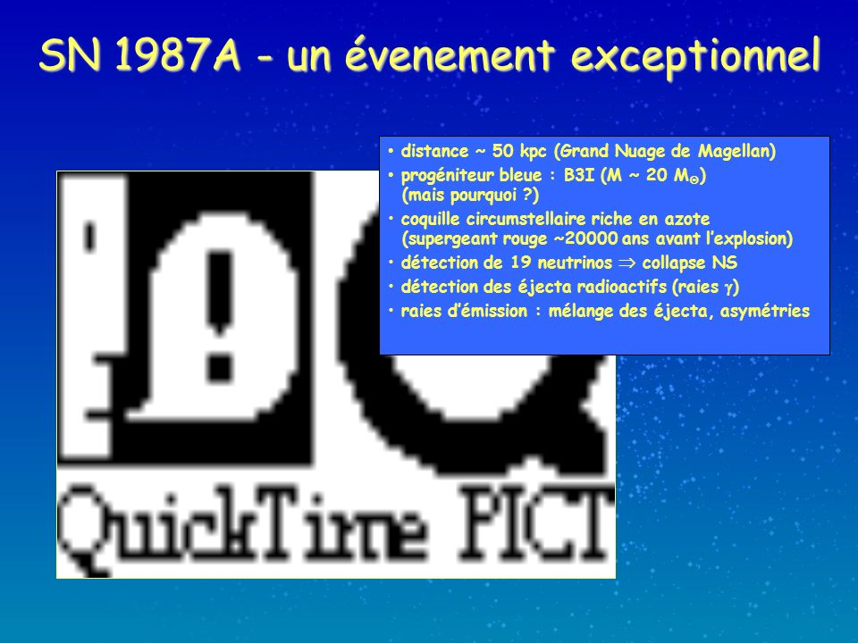 SN 1987A - un évenement exceptionnel distance ~ 50 kpc (Grand Nuage de Magellan) progéniteur bleue : B3I (M ~ 20 M ) (mais pourquoi ?) coquille circumstellaire riche en azote (supergeant rouge ~20000 ans avant lexplosion) détection de 19 neutrinos collapse NS détection des éjecta radioactifs (raies ) raies démission : mélange des éjecta, asymétries