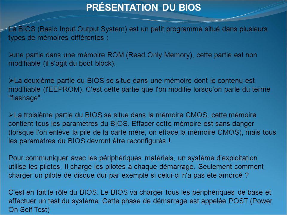 PRÉSENTATION DU BIOS Le BIOS (Basic Input Output System) est un petit programme situé dans plusieurs types de mémoires différentes : une partie dans une mémoire ROM (Read Only Memory), cette partie est non modifiable (il s agit du boot block).