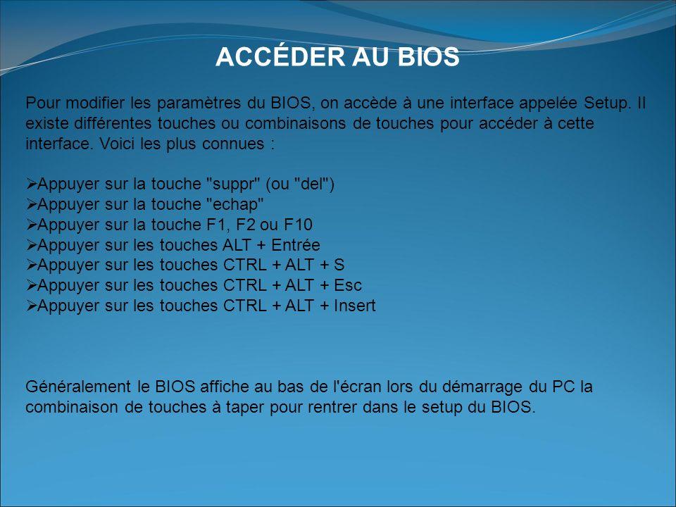 ACCÉDER AU BIOS Pour modifier les paramètres du BIOS, on accède à une interface appelée Setup.