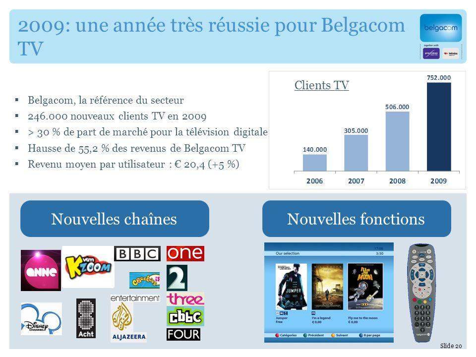 Belgacom, la référence du secteur 246.000 nouveaux clients TV en 2009 > 30 % de part de marché pour la télévision digitale Hausse de 55,2 % des revenus de Belgacom TV Revenu moyen par utilisateur : 20,4 (+5 %) 2009: une année très réussie pour Belgacom TV Nouvelles chaînesNouvelles fonctions Slide 20 Clients TV