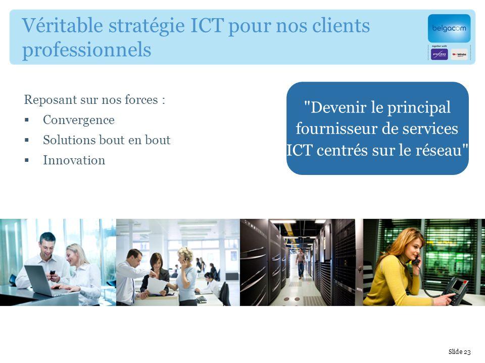 Reposant sur nos forces : Convergence Solutions bout en bout Innovation Véritable stratégie ICT pour nos clients professionnels Devenir le principal fournisseur de services ICT centrés sur le réseau Slide 23