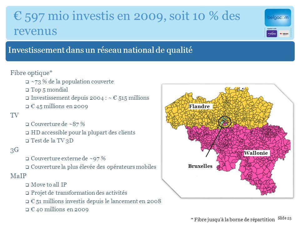 Flandre Wallonie Bruxelles Investissement dans un réseau national de qualité 597 mio investis en 2009, soit 10 % des revenus Fibre optique* ~73 % de la population couverte Top 5 mondial Investissement depuis 2004 : ~ 515 millions 45 millions en 2009 TV Couverture de ~87 % HD accessible pour la plupart des clients Test de la TV 3D 3G Couverture externe de ~97 % Couverture la plus élevée des opérateurs mobiles MaIP Move to all IP Projet de transformation des activités 51 millions investis depuis le lancement en 2008 40 millions en 2009 Slide 25 * Fibre jusqu à la borne de répartition