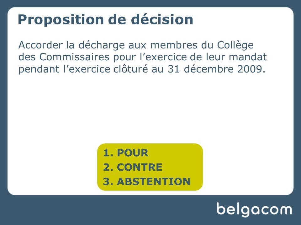 Accorder la décharge aux membres du Collège des Commissaires pour lexercice de leur mandat pendant lexercice clôturé au 31 décembre 2009.