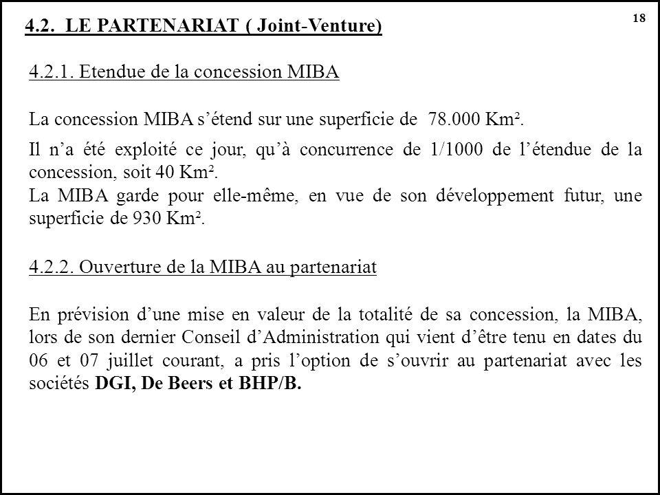 4.2.1. Etendue de la concession MIBA La concession MIBA sétend sur une superficie de 78.000 Km². Il na été exploité ce jour, quà concurrence de 1/1000