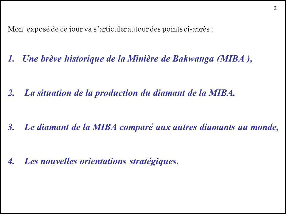 2 Mon exposé de ce jour va sarticuler autour des points ci-après : 1.Une brève historique de la Minière de Bakwanga (MIBA ), 2. La situation de la pro
