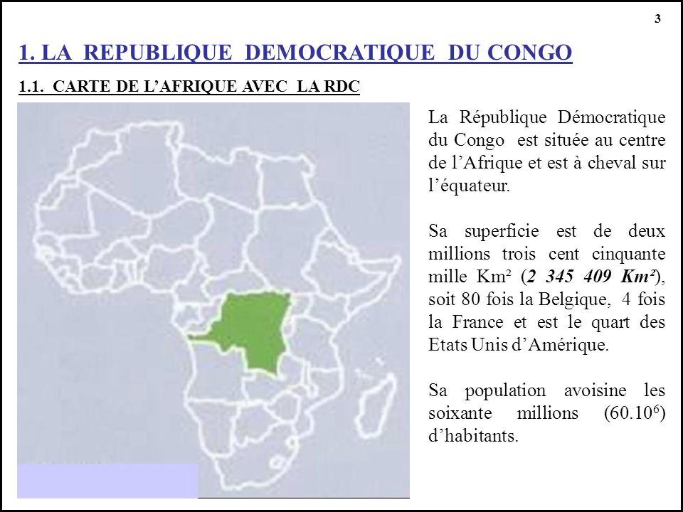 1. LA REPUBLIQUE DEMOCRATIQUE DU CONGO 1.1. CARTE DE LAFRIQUE AVEC LA RDC 3 La République Démocratique du Congo est située au centre de lAfrique et es