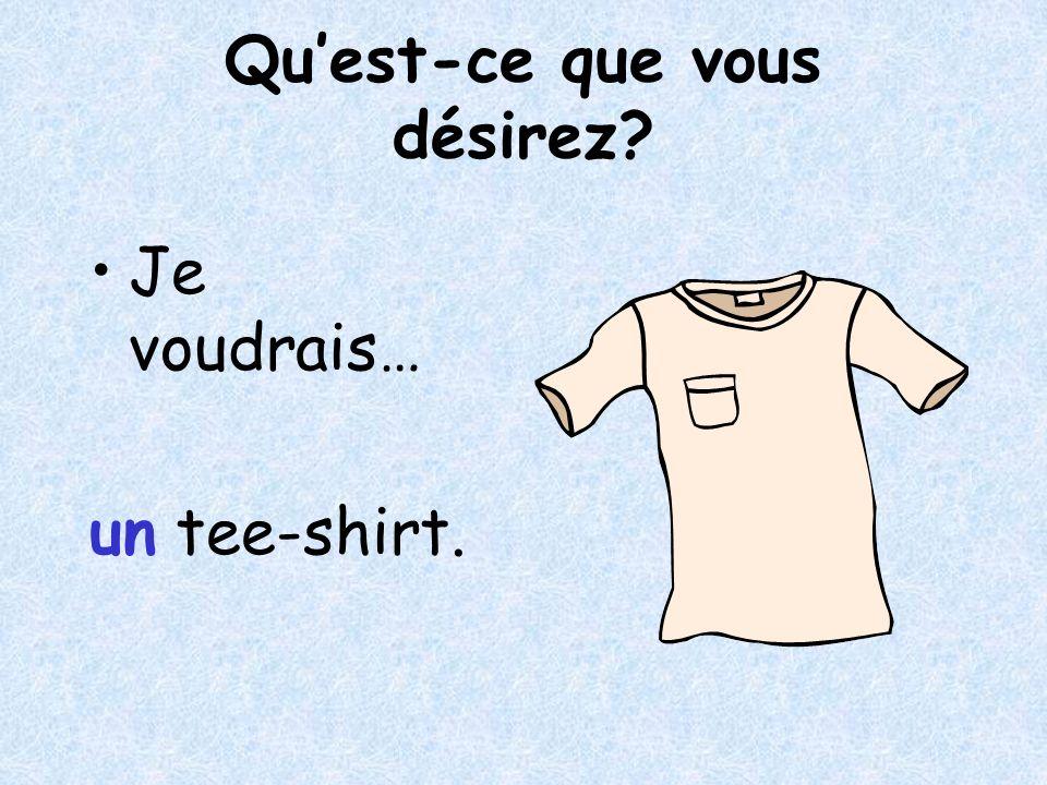 Quest-ce que vous désirez Je voudrais… un tee-shirt.