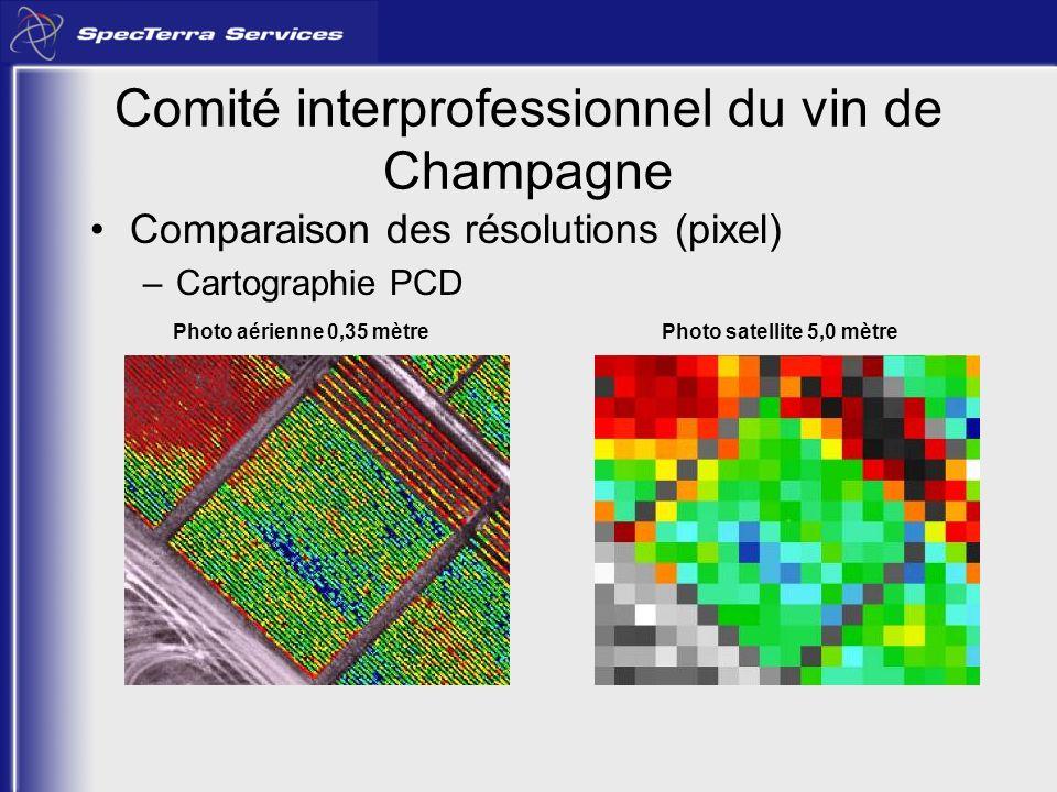 Comparaison des résolutions (pixel) –Cartographie PCD Photo aérienne 0,35 mètrePhoto satellite 5,0 mètre