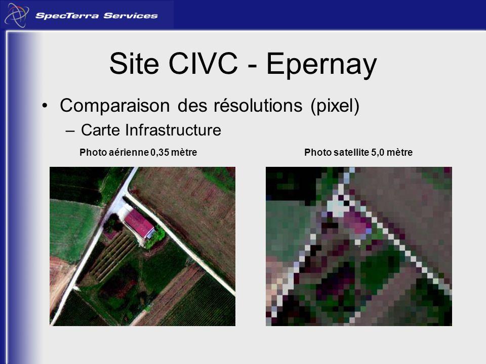 Site CIVC - Epernay Comparaison des résolutions (pixel) –Carte Infrastructure Photo aérienne 0,35 mètrePhoto satellite 5,0 mètre