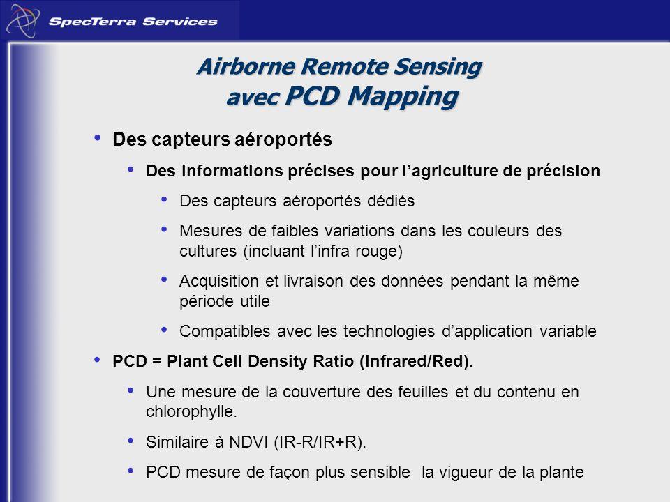 Des capteurs aéroportés Des informations précises pour lagriculture de précision Des capteurs aéroportés dédiés Mesures de faibles variations dans les