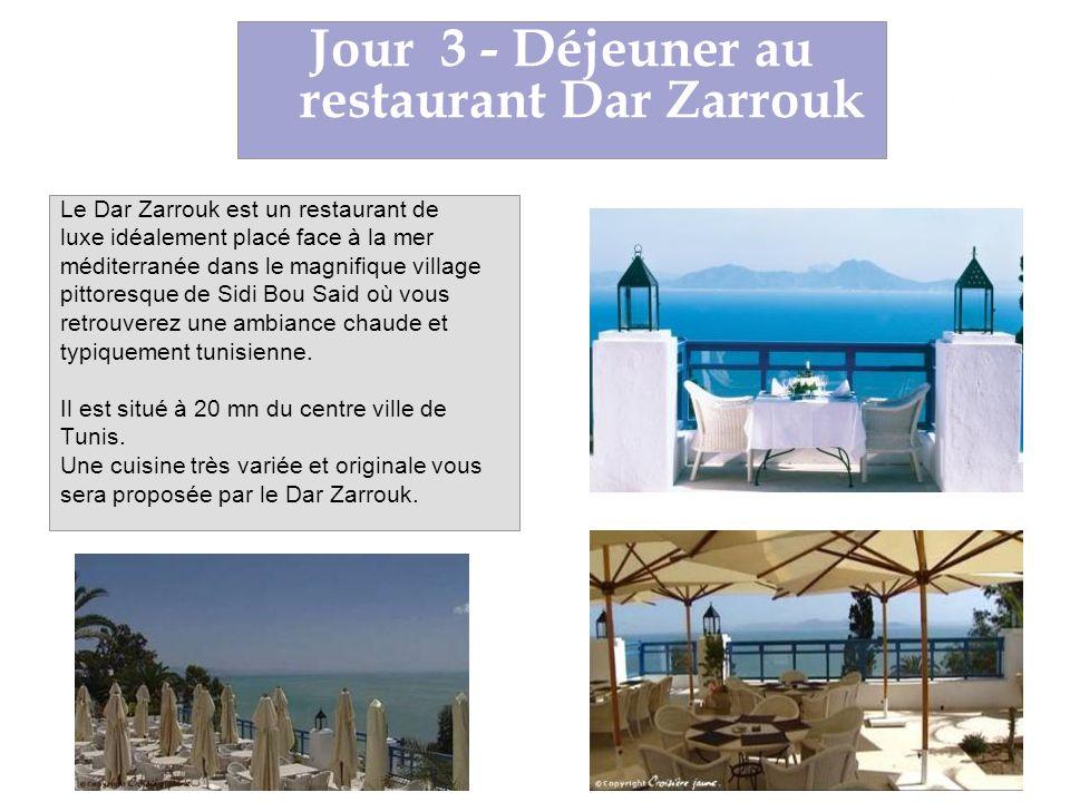 Le Dar Zarrouk est un restaurant de luxe idéalement placé face à la mer méditerranée dans le magnifique village pittoresque de Sidi Bou Said où vous retrouverez une ambiance chaude et typiquement tunisienne.