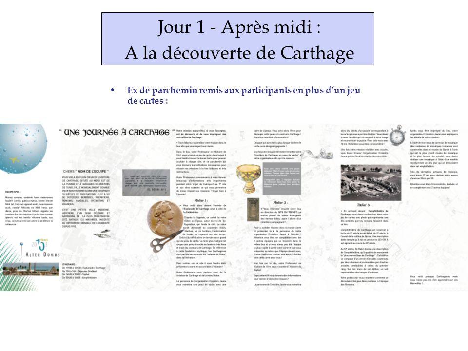 Jour 1 - Après midi : A la découverte de Carthage Ex de parchemin remis aux participants en plus dun jeu de cartes :