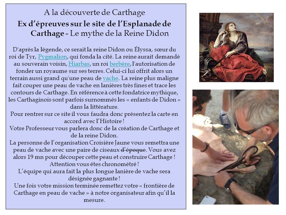 A la découverte de Carthage Ex dépreuves sur le site de lEsplanade de Carthage - Le mythe de la Reine Didon D après la légende, ce serait la reine Didon ou Élyssa, sœur du roi de Tyr, Pygmalion, qui fonda la cité.