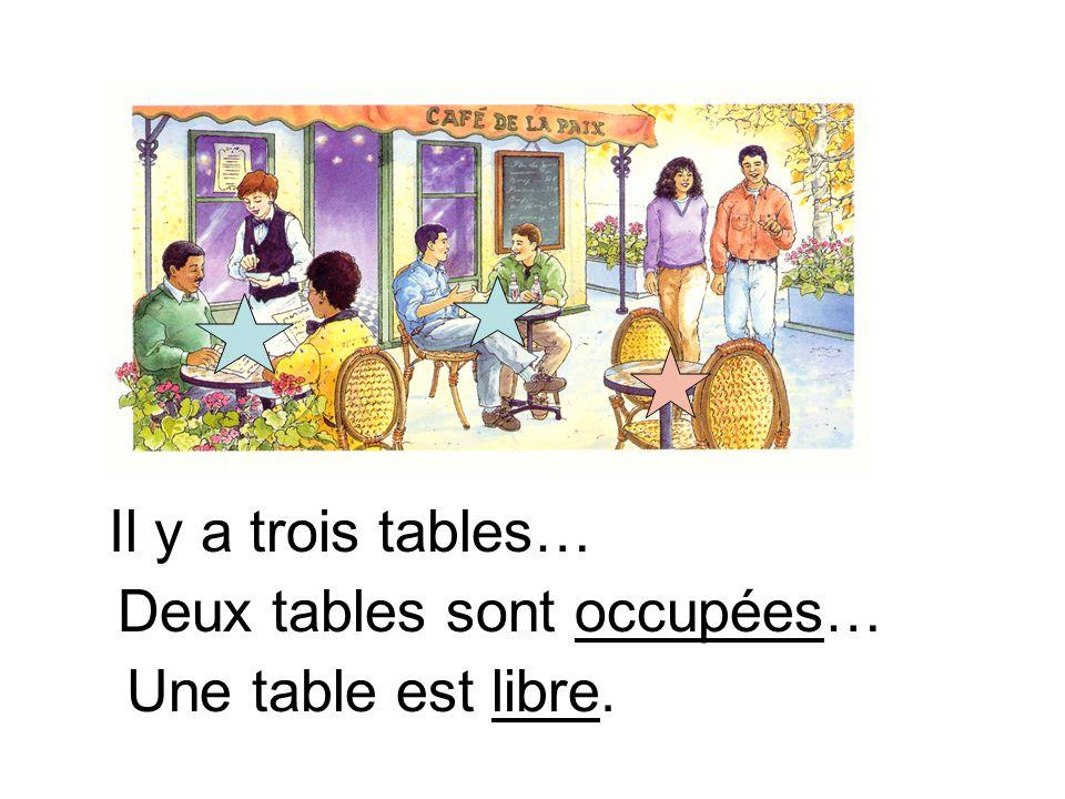 Il y a trois tables… Deux tables sont occupées… Une table est libre.