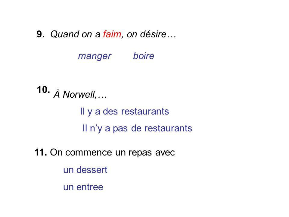 9. Quand on a faim, on désire… mangerboire 10. À Norwell,… Il y a des restaurants Il ny a pas de restaurants 11. On commence un repas avec un dessert