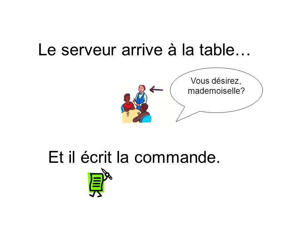 Le serveur arrive à la table… Et il écrit la commande. Vous désirez, mademoiselle?
