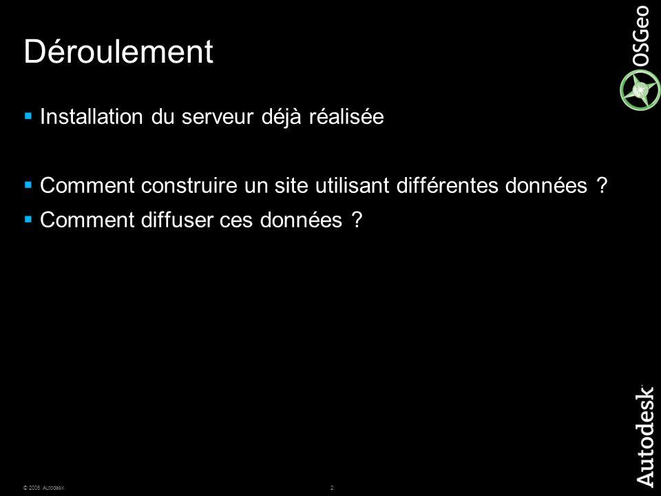 2© 2006 Autodesk Déroulement Installation du serveur déjà réalisée Comment construire un site utilisant différentes données ? Comment diffuser ces don