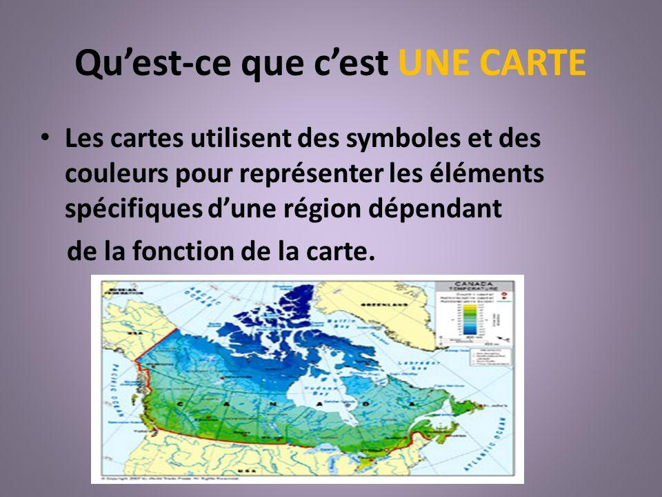 Quest-ce que cest UNE CARTE Les cartes utilisent des symboles et des couleurs pour représenter les éléments spécifiques dune région dépendant de la fo