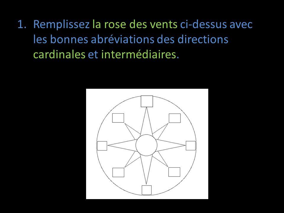 1.Remplissez la rose des vents ci-dessus avec les bonnes abréviations des directions cardinales et intermédiaires.