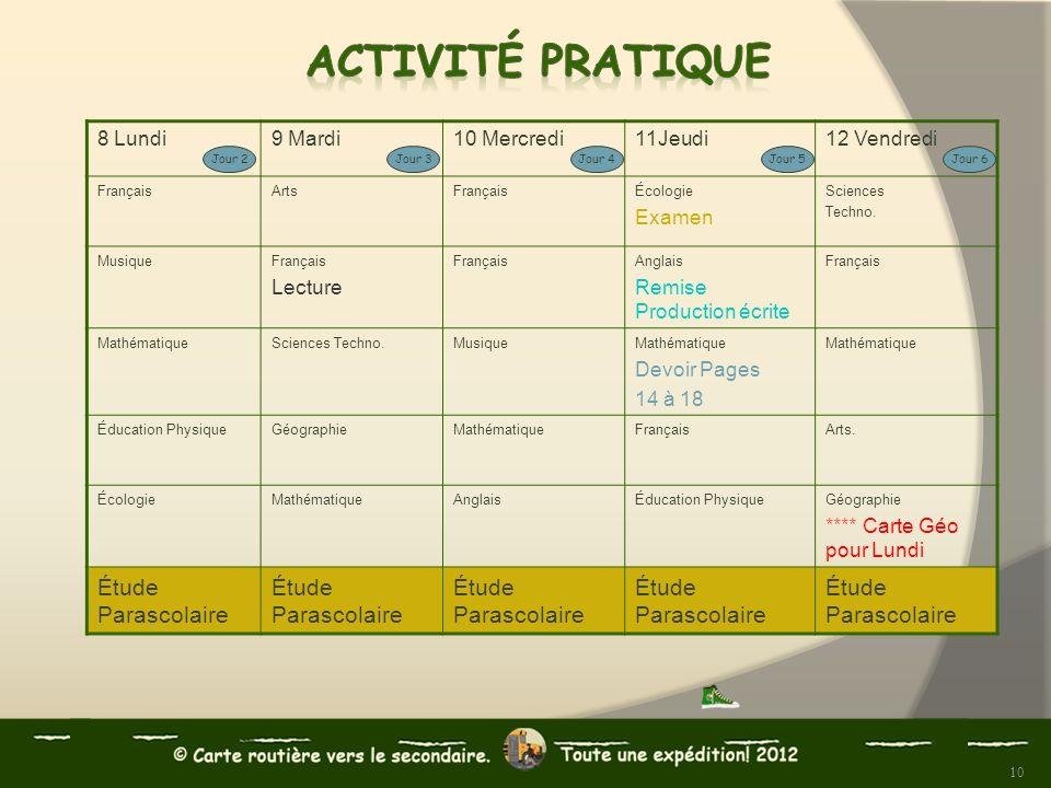 8 Lundi9 Mardi10 Mercredi11Jeudi12 Vendredi FrançaisArtsFrançaisÉcologie Examen Sciences Techno. MusiqueFrançais Lecture FrançaisAnglais Remise Produc