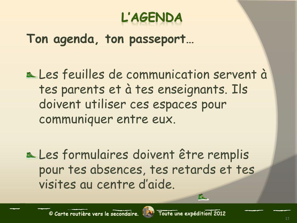 Ton agenda, ton passeport… Les feuilles de communication servent à tes parents et à tes enseignants. Ils doivent utiliser ces espaces pour communiquer