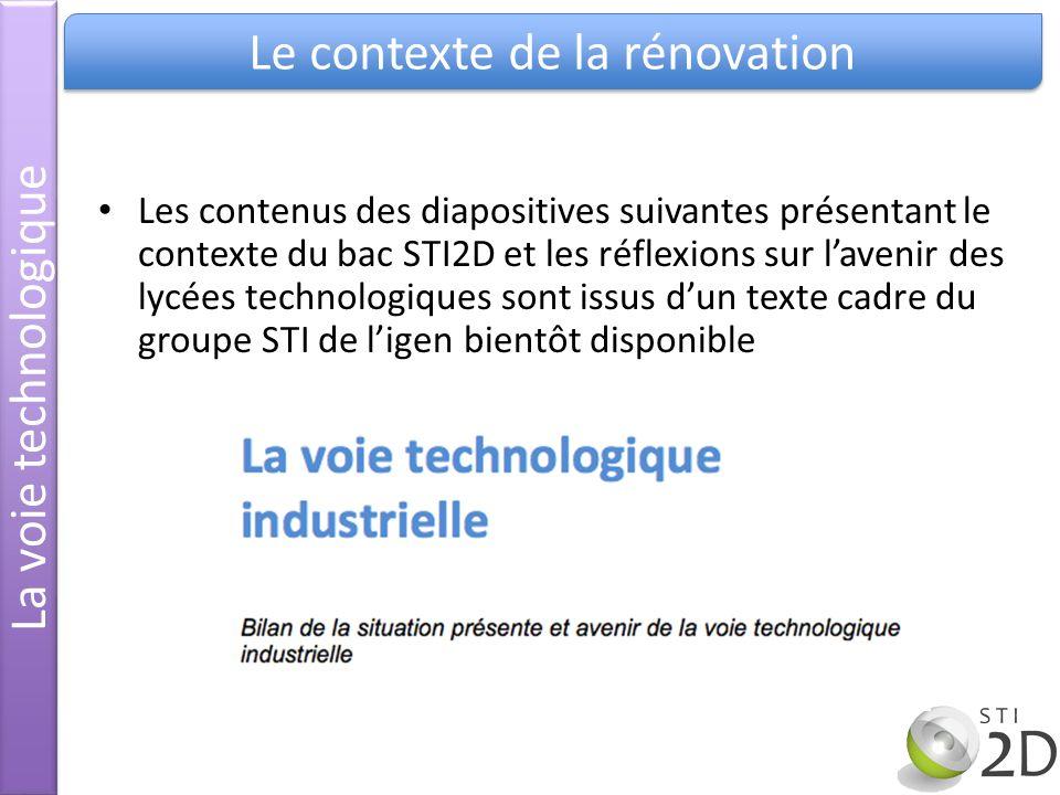Les contenus des diapositives suivantes présentant le contexte du bac STI2D et les réflexions sur lavenir des lycées technologiques sont issus dun tex