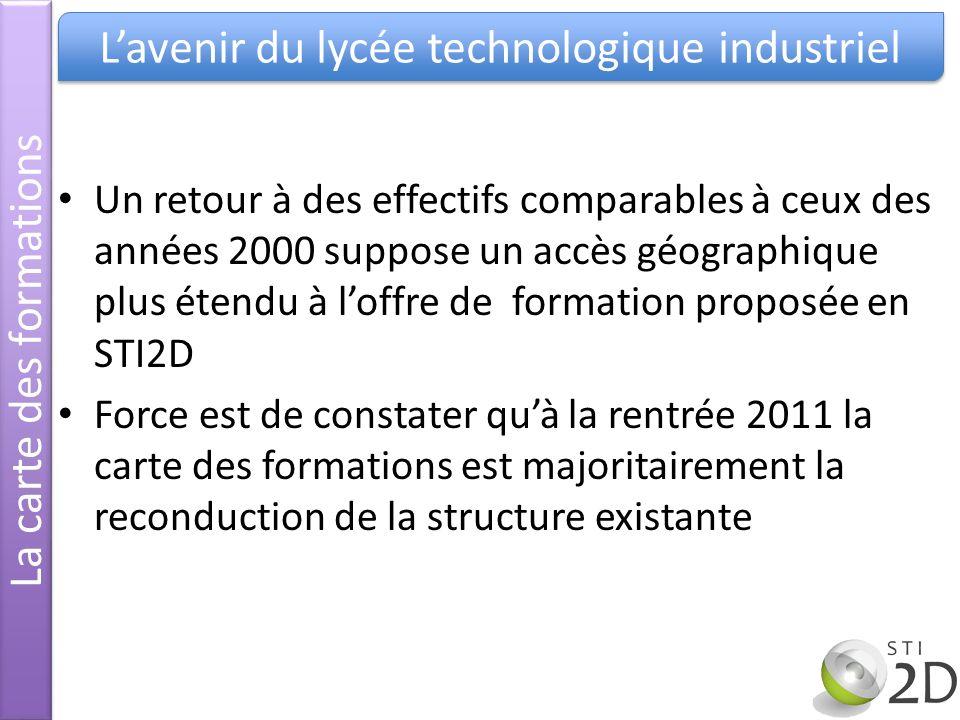 Un retour à des effectifs comparables à ceux des années 2000 suppose un accès géographique plus étendu à loffre de formation proposée en STI2D Force e